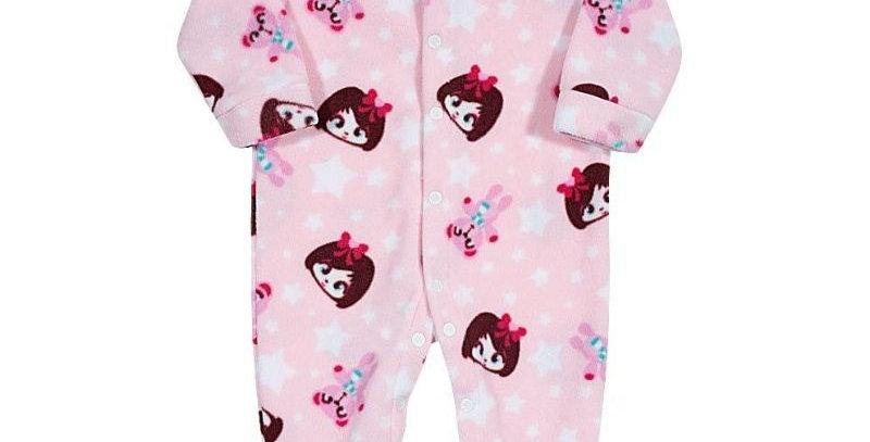 Pijama Soft Bebê Menina Macacão Rosa - Tip Top