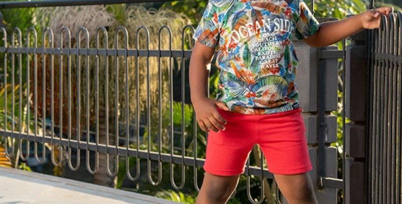 Conjunto Florido Bermuda Moletom Infantil   Vrasalon