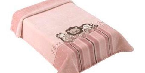Cobertor Le Petit Raschel Jungle Rosa Colibri