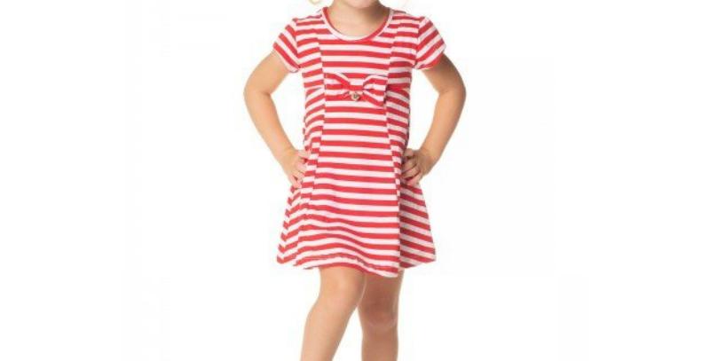 Vestido Infantil Listras Vermelho | Hrradinhos