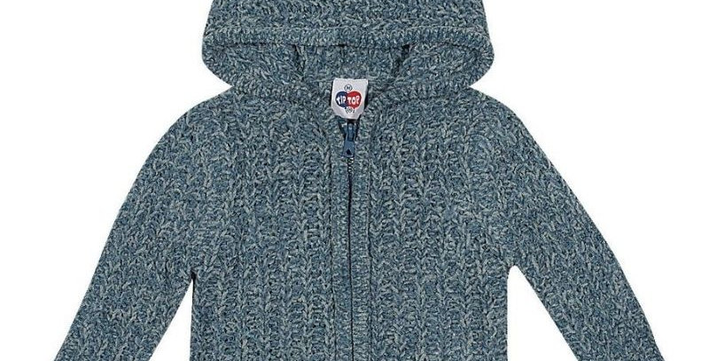 Blusão Tricô com Capuz Infantil Azul - Tip Top