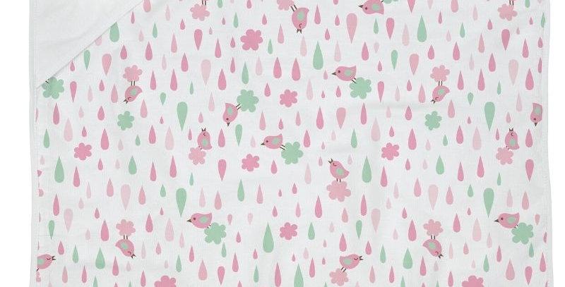 Toalha de Plush Capuz de Canto e Forro de Fralda Estampado Balões Rosa | Bambi