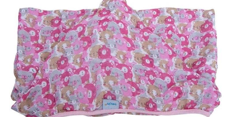 Toalha Soft com Capuz de Centro Ursos Rosa - 80 cm x 90 cm