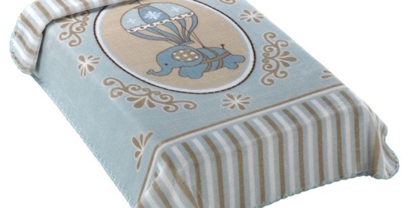 Cobertor Le Petit Raschel Elefante Azul Colibri