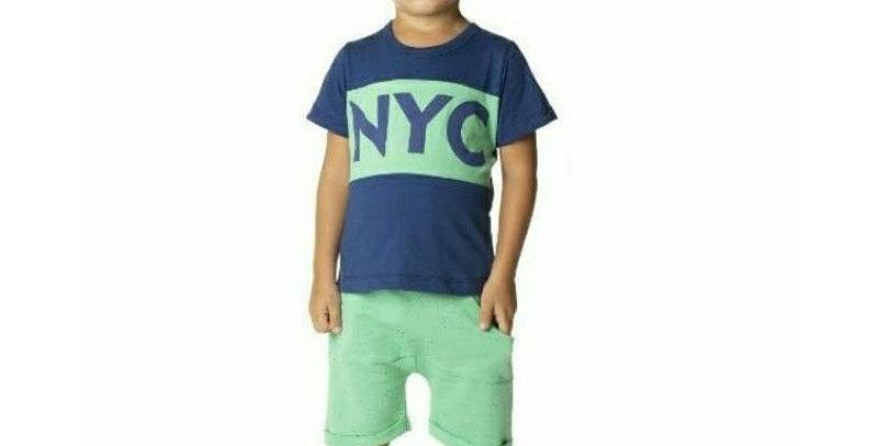 Conjunto Infantil Bermuda Moletom Saruel Verde e Camiseta NYC | Hrradinhos