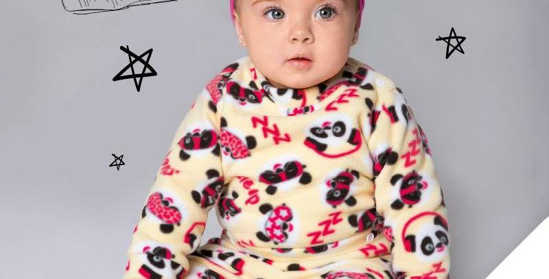 Pijama Soft Bebê Panda Conjunto Longo Amarelo - Tip Top