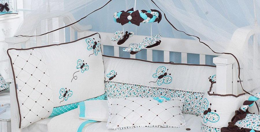 Kit Berço Americano - 09 Pçs Butterfly Azul - 100% Algodão