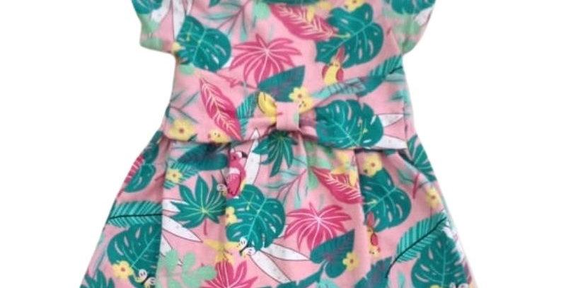 Vestido Bebê Floral Laço Rosa   Hrradinhos