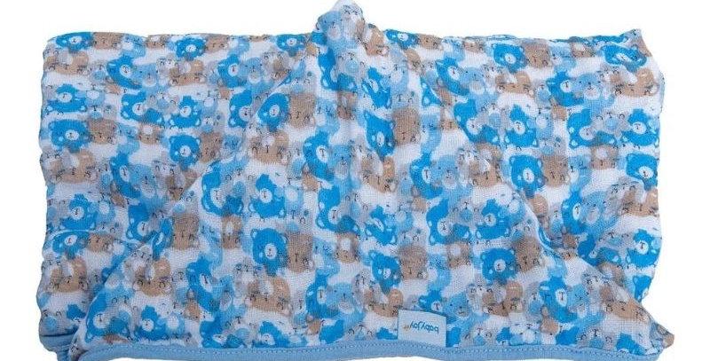 Toalha Soft com Capuz de Centro Ursos Azul - 80 cm x 90 cm