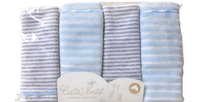 Kit Pano de Boca Suedine e Plush 4 peças - Catavento Azul
