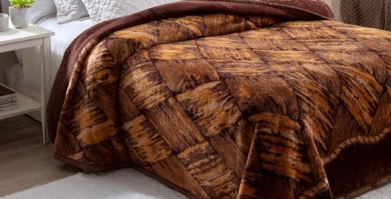 Cobertor Casal Dyuri Pelo Alto Madeira | Jolitex