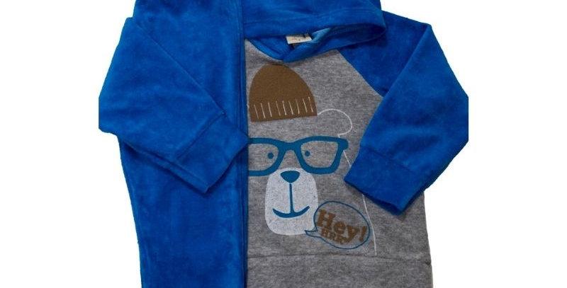Conjunto Plush Infantil Capuz Urso Azul - Hrradinhos