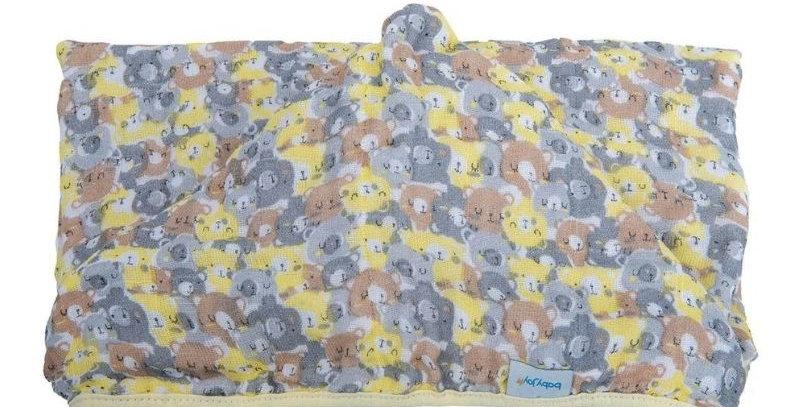 Toalha Soft com Capuz de Centro Ursos Amarelo - 80 cm x 90 cm