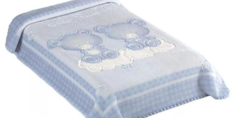 Cobertor Premium Relevo Estampa Ursinhos AzulColibri