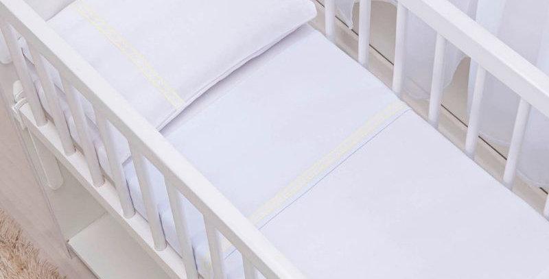 Jogo Lençol em Malha Berço Americano Essence - Baby Joy Branco
