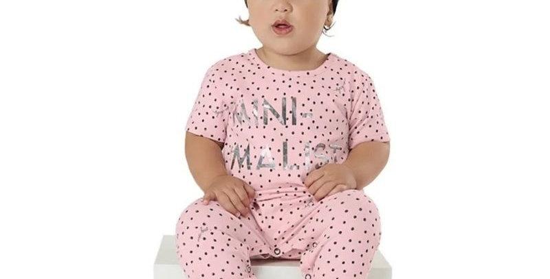 Macacão Baby em cotton Minimalist Rosa com faixa   Up Baby