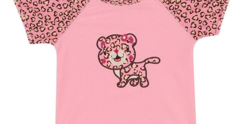 Camiseta Surfista Onça Bebe Rosa - Tip Top