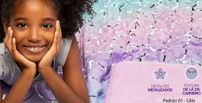 Manta Fleece Dupla Face Glam Kids Tie Dye   Lepper