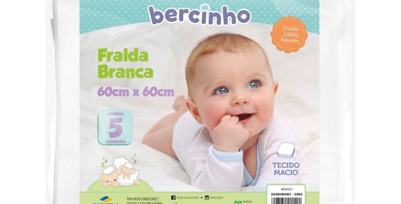 Fralda Bebê Branco (5 unidades)   Bercinho