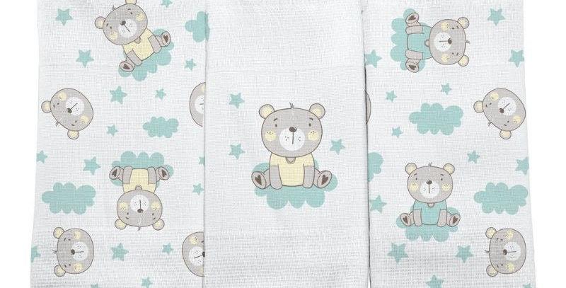 Pano de Boca Bebê Urso Amarelo com Festone (3 unidades) | Bercinho