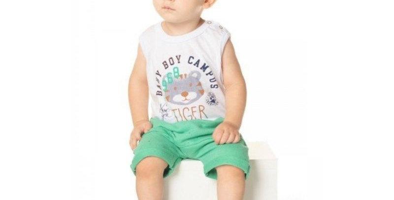 Conjunto Bebê Regata Tigre e Bermuda Moletinho Verde | Hrradinhos
