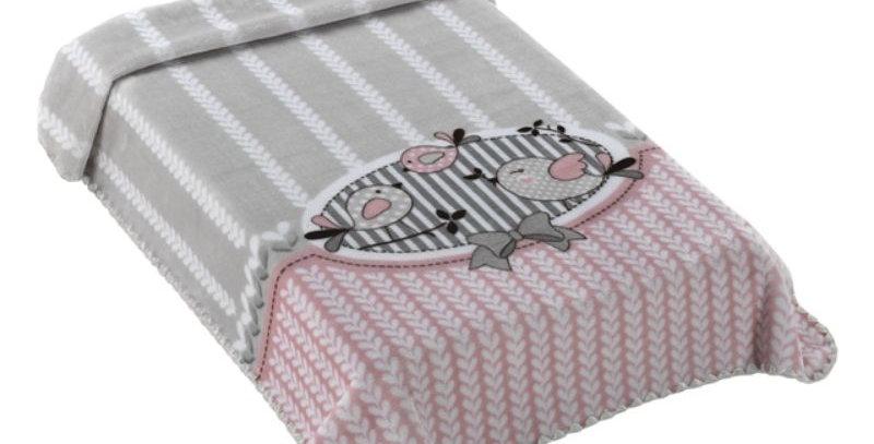 Cobertor Le Petit Raschel Passarinho Rosa Colibri