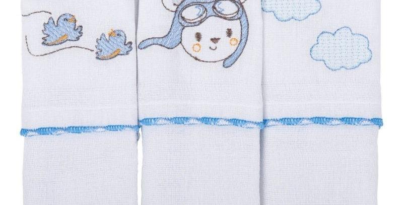 Pano De Boca Bordado Urso Azul | Bambi