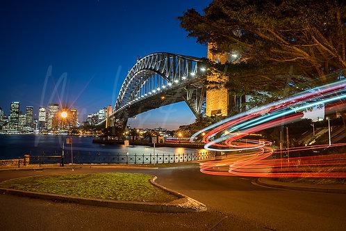 Harbour bridge light trails