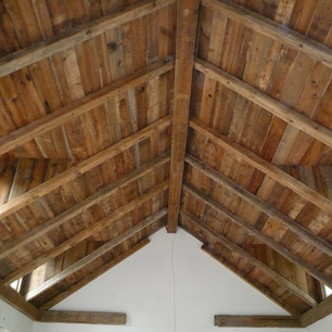 barnboard and beam ceiling