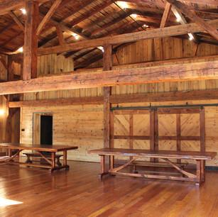 Reclaimed pine ceiling boards, beams and barn door