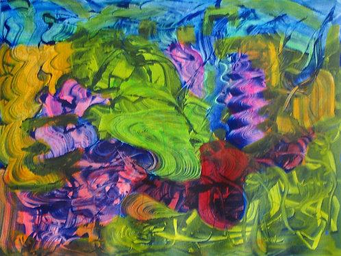 Paul Crimi Druck blau-grün