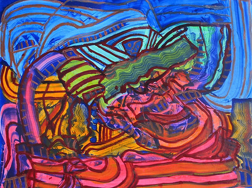 Paul Crimi Druck rot-blau