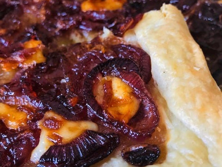 Provolone and Caramelised Red Onion Puff Pastry Tart