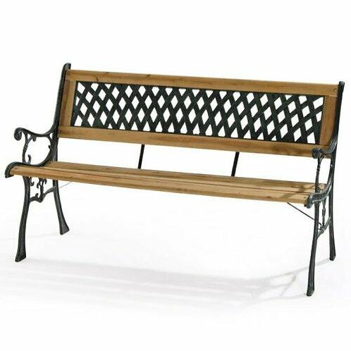 Panchina da esterno in legno e ghisa