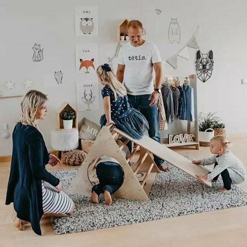 Triangolo di Pikler in legno con scivolo Montessori Baby Gym
