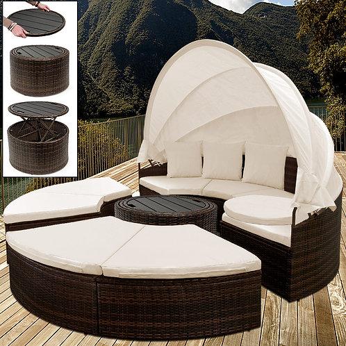 Letto Isola prendisole con tetto e tavolino Casaria