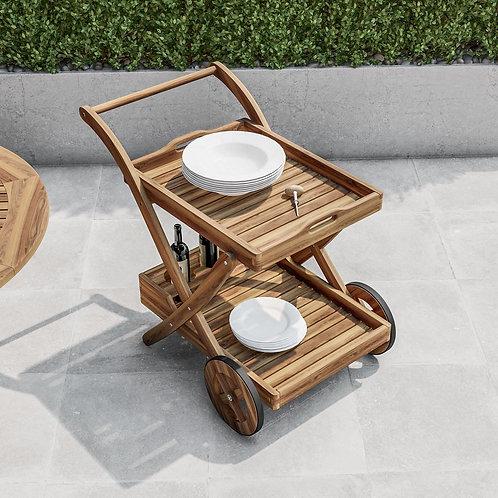 Carrello da giardino portavivande in legno di acacia con ruote