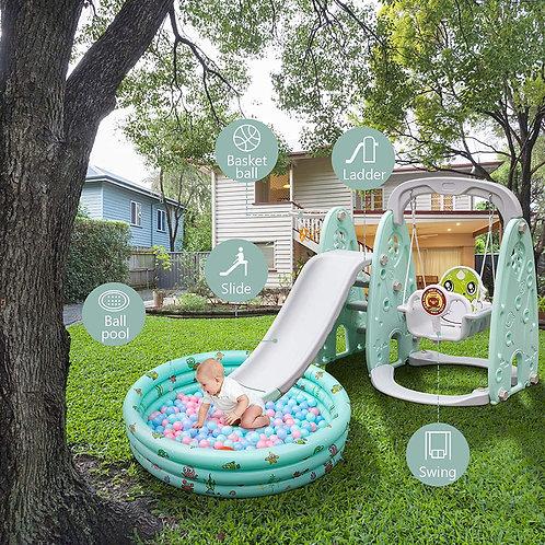 Scivolo per bambini + altalena + piscina palline + canestro