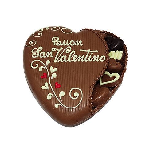 Chocolate heart with tiny chocolates inside