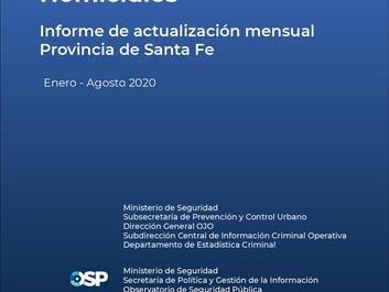 Homicidios en la provincia de Santa Fe, Informe de actualización mensual (enero-agosto 2020)