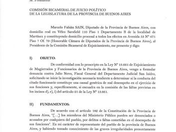 Pedido de enjuiciamiento al Fiscal General Julio Novo