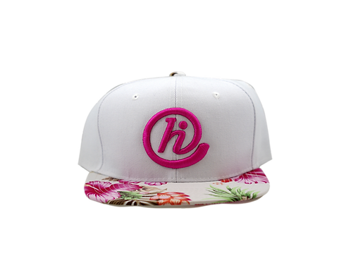White and Pink Floral @HI 6 Panel Snapback