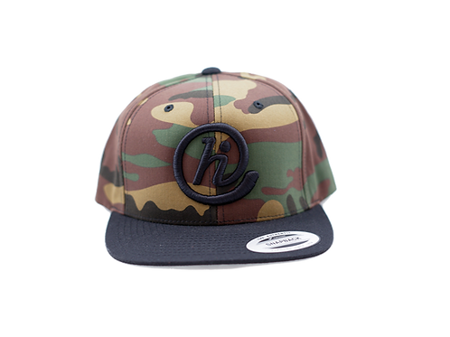 @HI 6 Panel Flat Bill Snapback - Camo & Black