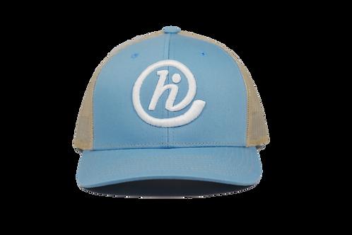 @HI 6 Panel Mesh Curved Bill Snapback - Blue and Tan