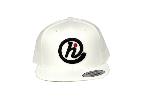 @HI 6 Panel Flat Bill Snapback -White, Black & Red
