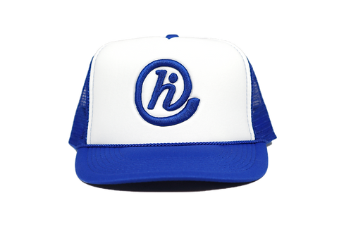 Royal and White @HI Foam Mesh Curved Bill Snapback