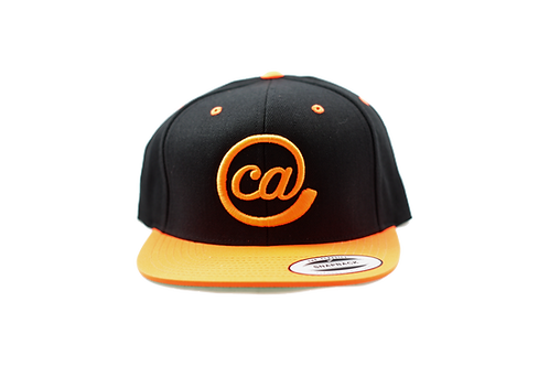 @CA 6 Panel Flat Bill Snapback - Black & Orange