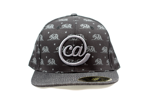 @CA 6 Panel Flat Bill Snapback - Black Bear & Silver