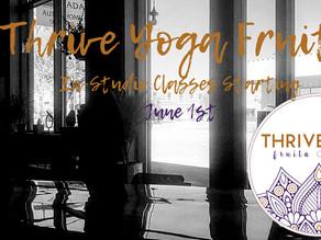 In-Studio Classes Starting June 1st
