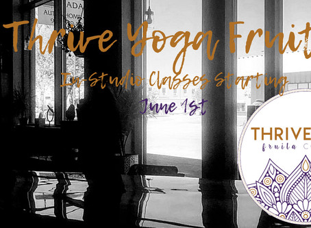 In-Studio Classes Starting June 1st